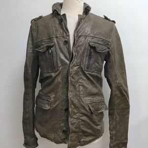All Saints brown distressed leather Jacket M
